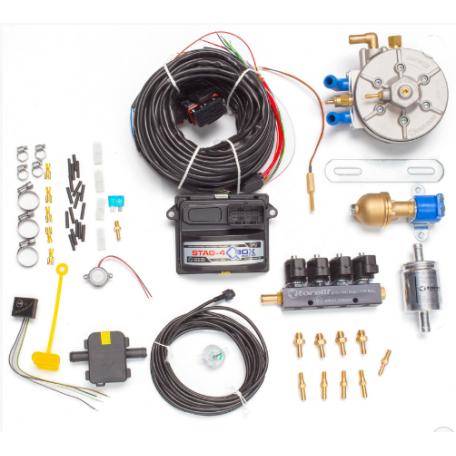 Мини-комплект ГБО 4 поколения STAG 4 QBox редуктор Torelli Aries, газовый клапан Torelli №7, реверс 6х6, форсунки Torelli, фильтр, температурный датчик Бельгия