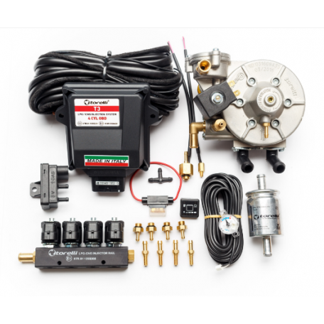 Мини-комплект ГБО 4 поколения Torelli T3 Pro OBD редуктор Torelli Taurus, форсунки Torelli, фильтр, датчик уровня топлива AEB1090