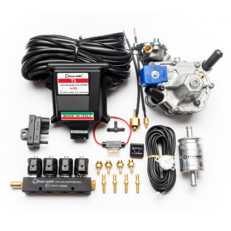 Мини-комплект ГБО 4 поколения Torelli T3 Pro редуктор Alaska, форсунки Torelli, фильтр, датчик уровня топлива AEB1090