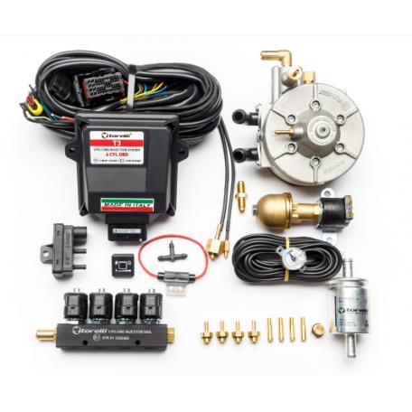 Мини-комплект ГБО 4 поколения Torelli T3 Pro OBD редуктор Torelli Aries, газовый клапан Torelli №7, реверс 6х6, форсунки Torelli, фильтр, датчик уровня топлива AEB1090