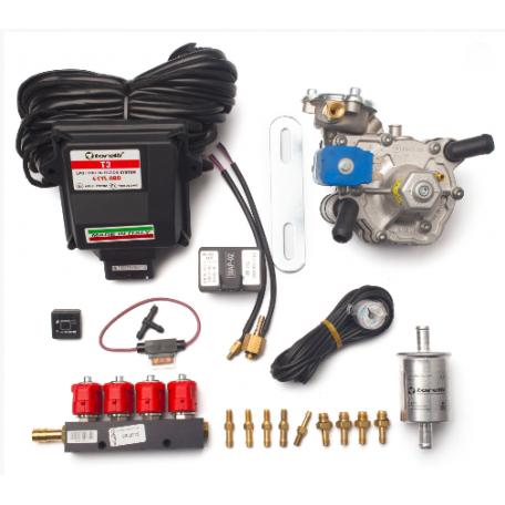 Мини-комплект ГБО 4 поколения Torelli T3 Pro OBD редуктор Alaska, форсунки Valtek, фильтр, датчик уровня топлива AEB1090